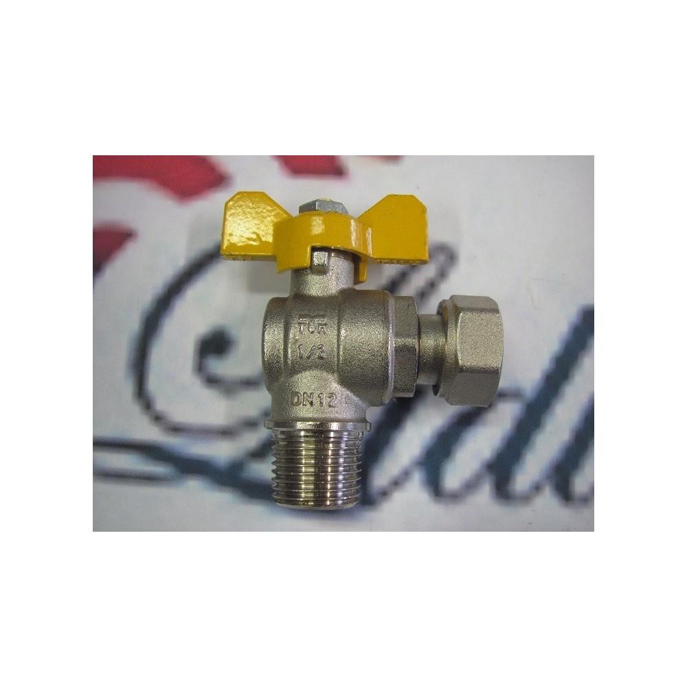 """Kulový ventil 1/2"""" rohový vnější/vnitřní s převlečnou matkou  plynový"""