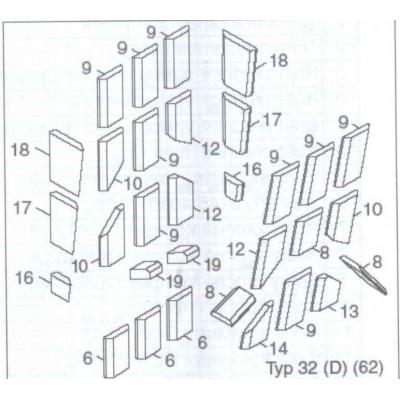 Cihla vyzdívky 817/75,76 delší DAKON DOR 32 D pozice 12