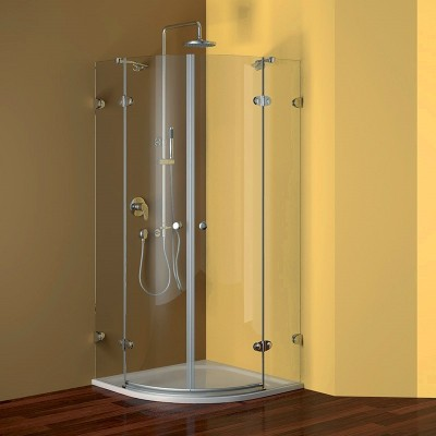 Sprchový set: čtvrtkruhový kout 90 cm, R550, chrom ALU, sklo Čiré + litá vanička a sifon