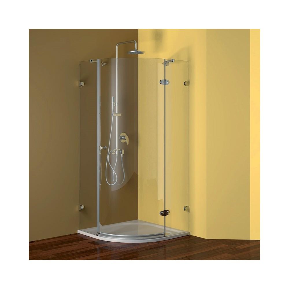 Sprchový set: čtvrtkruhový kout 90 cm, R550, chromy ALU, sklo Čiré + litá vanička a sifon