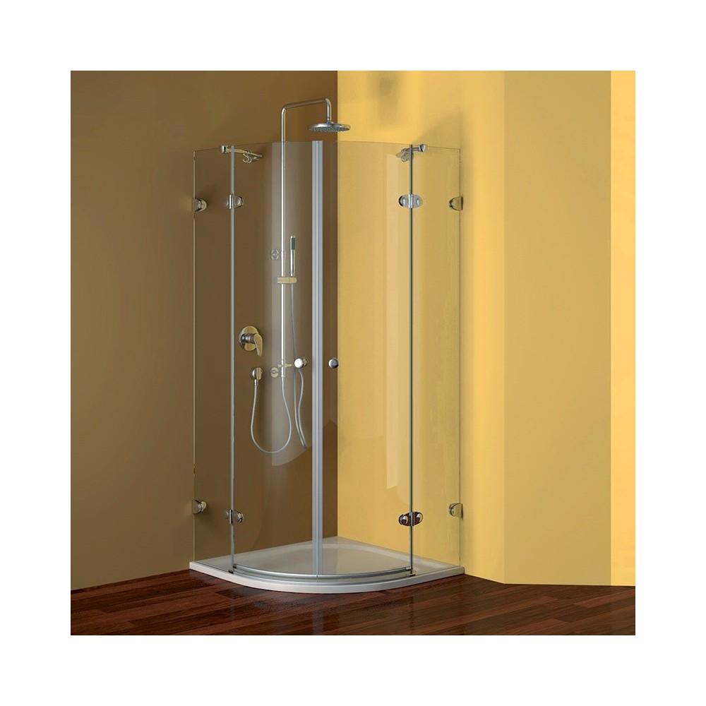 Sprchový set: kout 90x90x190 cm, R550, chrom ALU, sklo Ledové, litá vanička, sifon