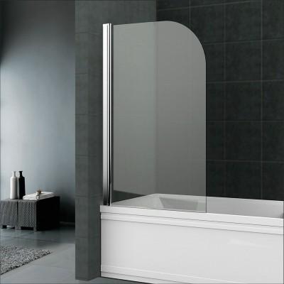 Vanová zástěna, 75 cm, leštěný hliník, sklo Čiré