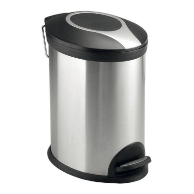 Odpadkový koš, ovál, 12 l, nerez/plast