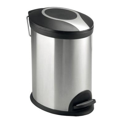 Odpadkový koš, ovál, 20 l, nerez/plast