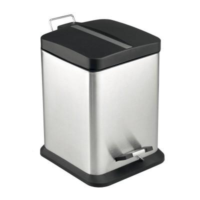 Odpadkový koš, čtverec, 6 l, nerez/plast