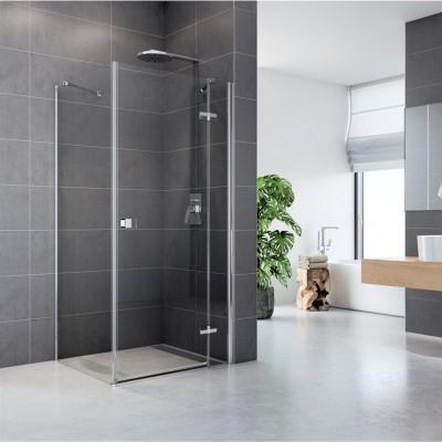 Sprchový kout, Fantasy, čtverec, 100 cm, chrom ALU, sklo Čiré , dveře a pevný díl