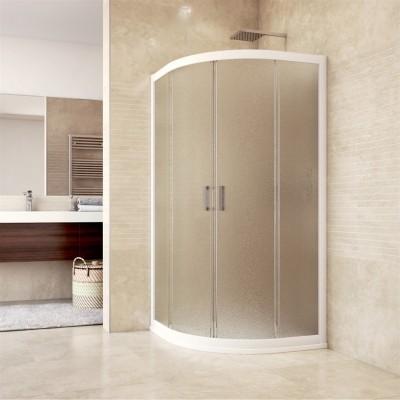 Sprchový kout, Mistica, čtvrtkruh, 80 cm, R550, bílý ALU,...