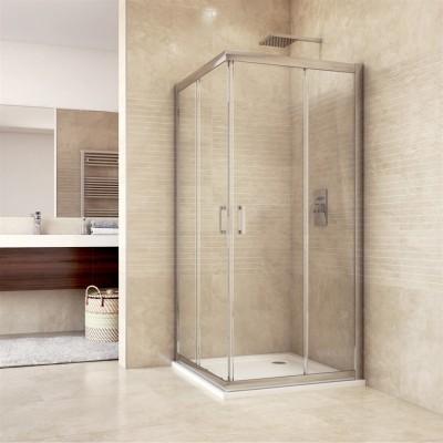 Sprchový kout, Mistica, čtverec, 90 cm, chrom ALU, sklo Čiré