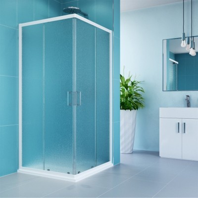 Sprchový kout, Kora, čtverec, 80 cm, bílý ALU, sklo Grape