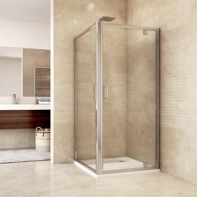 Sprchový kout, Mistica, čtverec, 80 cm, chrom ALU, sklo Čiré