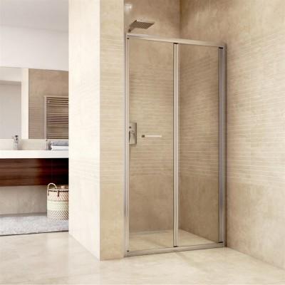Sprchové dveře zalamovací, Mistica, 90x190 cm, chrom ALU, sklo Chinchilla