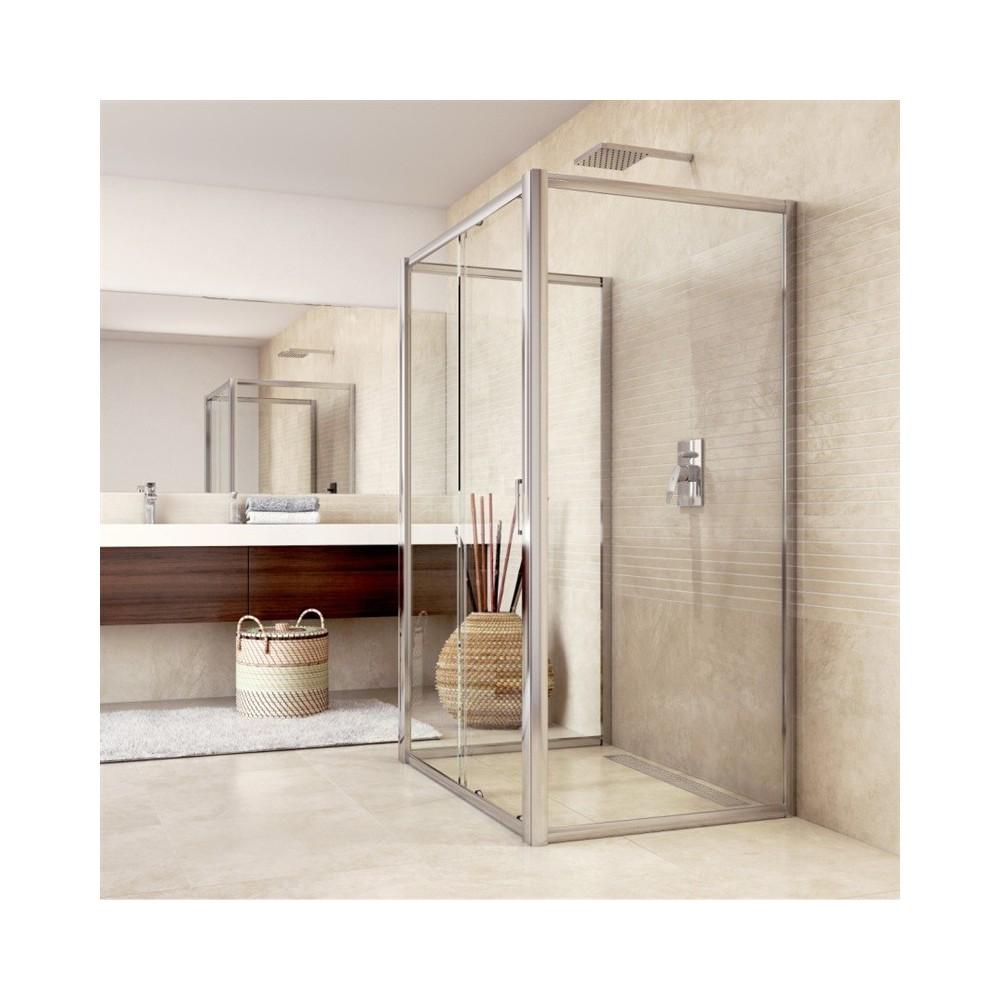 Sprchový kout, Mistica, obdélník, 100x120x100x190 cm, chrom ALU, sklo Čiré
