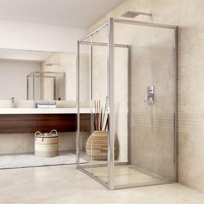 Sprchový kout, Mistica, obdélník, 100x120x100x190 cm, chrom ALU, sklo Chinchilla