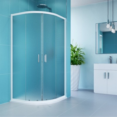 Sprchový kout, Kora, čtvrtkruh, 80 cm, R550, bílý ALU,...
