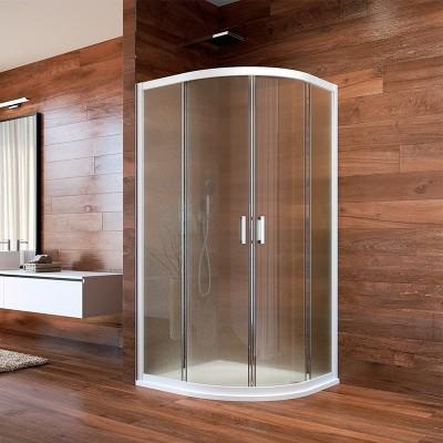 Sprchový kout, LIMA, čtvrtkruh, 90 cm, bílý ALU, sklo Point