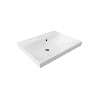 Nábytkové umyvadlo, 61x46x18 cm, litý mramor, bílé