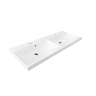 Nábytkové dvojumyvadlo, 121x46x18 cm, litý mramor, bílé
