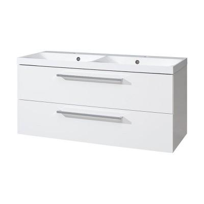 Koupelnová skříňka s dvouumyvadlem z litého maramoru, 120cm,  bílá/bílá MEREO MSO TRADE