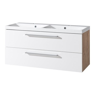 Koupelnová skříňka, dvoumyvadlo litý mramor, 120 cm,  bílá/dub