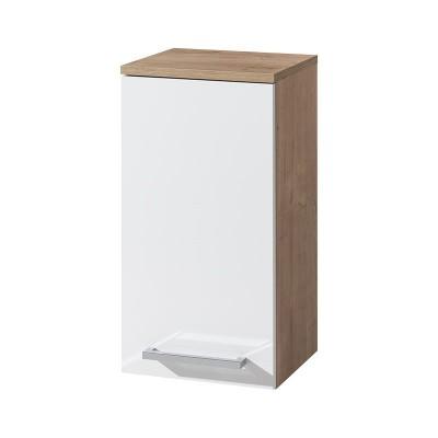 Koupelnová skříňka závěsná, horní, levá,  bílá/dub