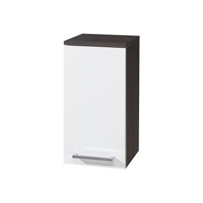 Koupelnová skříňka závěsná, horní, pravá, bílá/schoko