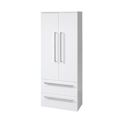 Koupelnová skříňka, závěsná bez nožiček, bílá/bílá