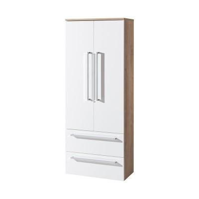 Koupelnová skříňka, závěsná bez nožiček, bílá/dub