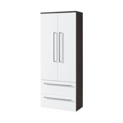 Koupelnová skříňka, závěsná bez nožiček, bílá/schoko