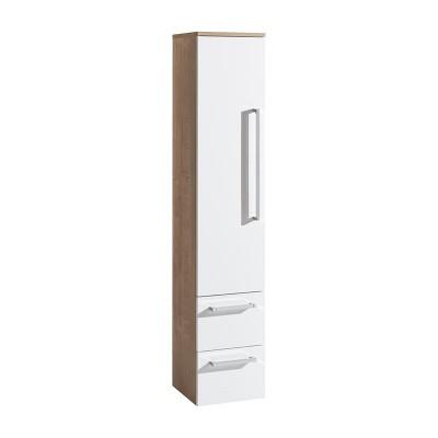 Koupelnová skříňka, závěsná bez nožiček, levá, bílá/dub