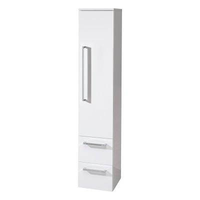 Koupelnová skříňka, závěsná bez nožiček, pravá, bílá/bílá