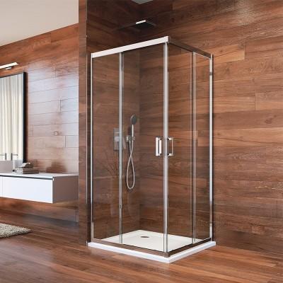 Sprchový kout, LIMA, čtverec, 90 cm, chrom ALU, sklo Čiré
