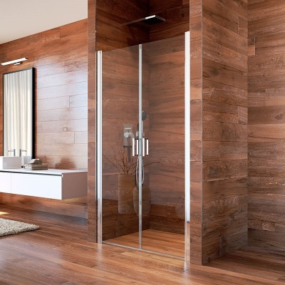 Sprchové dveře, LIMA, dvoukřídlé, lítací, 90 cm, sklo Čiré