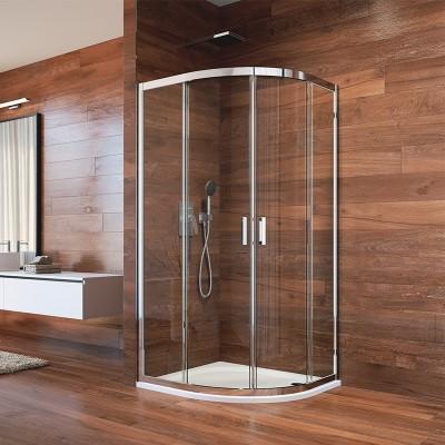 Sprchový kout, LIMA, čtvrtkruh, 90 cm, chrom ALU, sklo Point