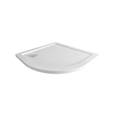 Sprchový set: sprchový kout, čtvrtkruh, 90x185 cm, R550, chrom ALU, sklo čiré, SMC vanička nízká