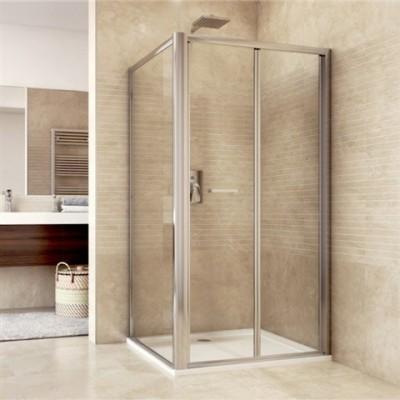 Sprchový kout, Mistica, obdélník, 80x100x190 cm, chrom ALU, sklo Chinchilla