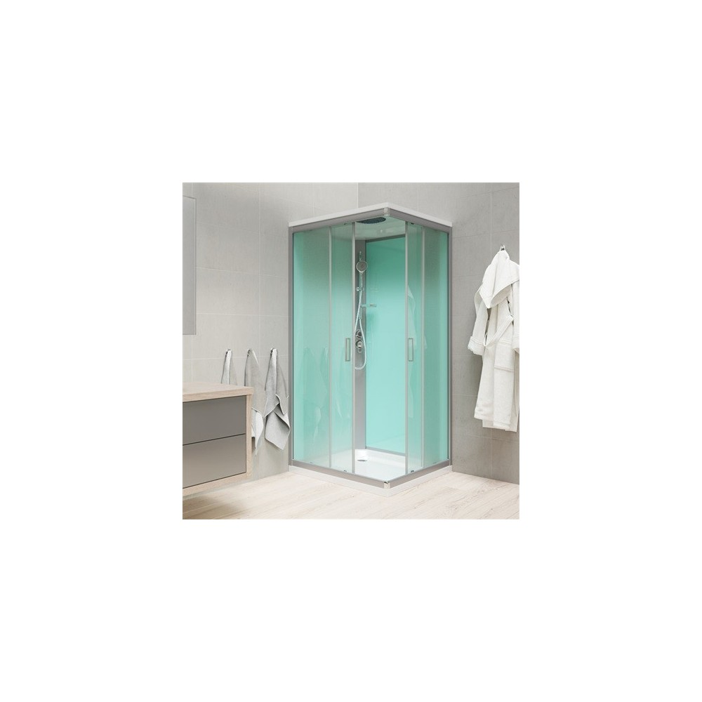 Sprchový box, čtvercový, 90 cm, profily satin, sklo Point, litá vanička, se stříškou