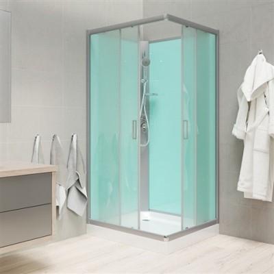 Sprchový box, čtvercový, 90 cm, profily satin, sklo Point, SMC vanička, bez stříšky
