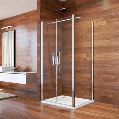 Sprchový kout, Lima, čtverec, 90 cm, chrom ALU, sklo Čiré, dveře lítací