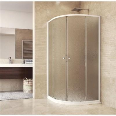 Sprchový set: sprchový kout, čtvrtkruh, 90x185 cm, R550, bílý ALU, sklo Grape, SMC vanička