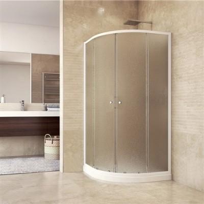 Sprchový set: sprchový kout, čtvrtkruh, 90x90x185 cm, R550, bílý ALU, sklo Grape, vanička SMC