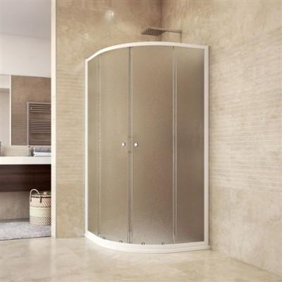 Sprchový set: kout CK35124H, 90x90x185 cm, R550, bílý ALU, Chinchilla, vanička, vč. sifonu, bez nožiček