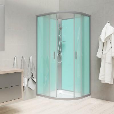 Sprchový box bez střechy, čtvrtkruh, 100 cm, R550, profily satin, sklo Point, litá vanička