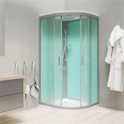 Sprchový box, čtvrtkruh, 100 cm, R550, profily satin, sklo Point, se stříškou, litá vanička