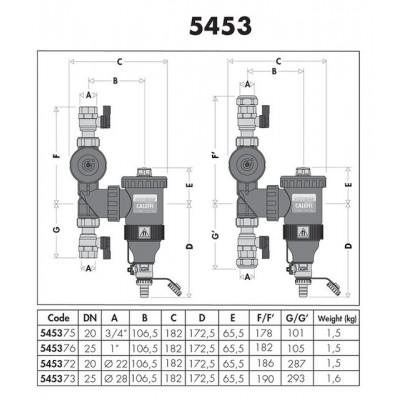 """Separátor nečistot s magnetem 3/4"""" s uzávěry a filtem  Caleffi 545375"""