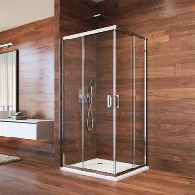 Sprchový kout, LIMA, obdélník, 90x80 cm, chrom ALU, sklo...