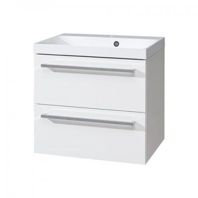 Koupelnová skříňka, umyvadlo litý mramor 60 cm, bílá/bílá
