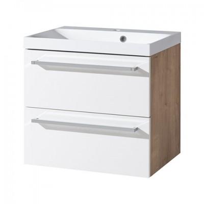 Koupelnová skříňka s umyvadlem z litého mramoru, bílá/dub