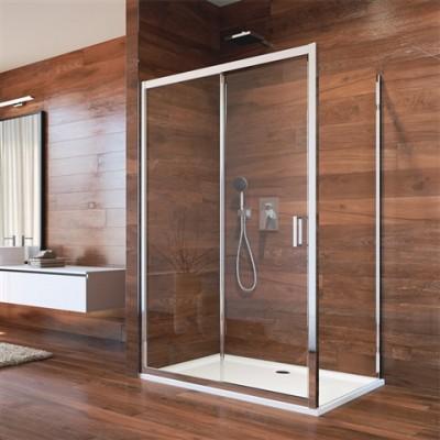 Sprchový kout, Lima, 100x100 cm, chrom ALU, sklo Point