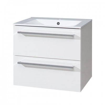 Koupelnová skříňka s keramický umyvadlem 60 cm, bílá/bílá