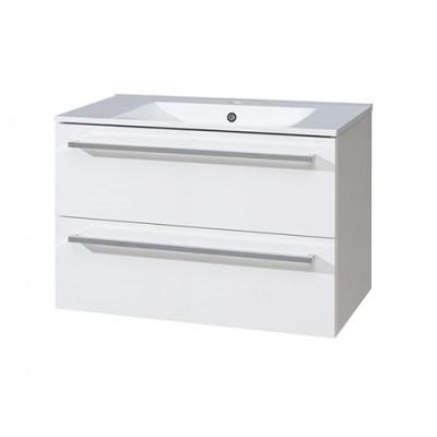 Koupelnová skříňka s keramickým umyvadlem, 80 cm, bílá/bílá